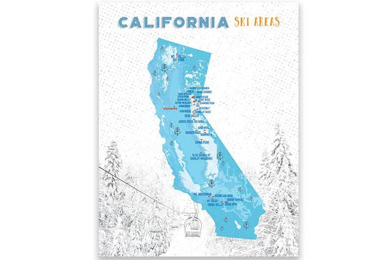 California Ski Map, Wall Art Poster Map World Vibe Studio 11X14 Blues