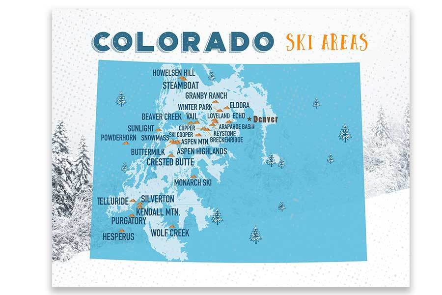 Colorado Ski map, Wall art Print Map World Vibe Studio 11X14 ski-blue