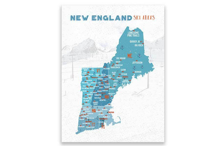 Ski map of New England, Wall Art Poster Map World Vibe Studio