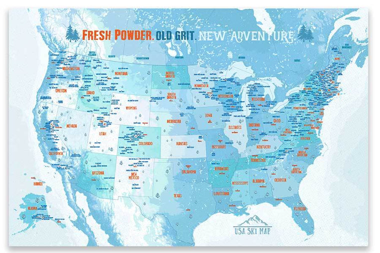 Ski Map of USA, Foam Mounted, Pin Board Wall Map Map World Vibe Studio 24X36 Ski-Blue
