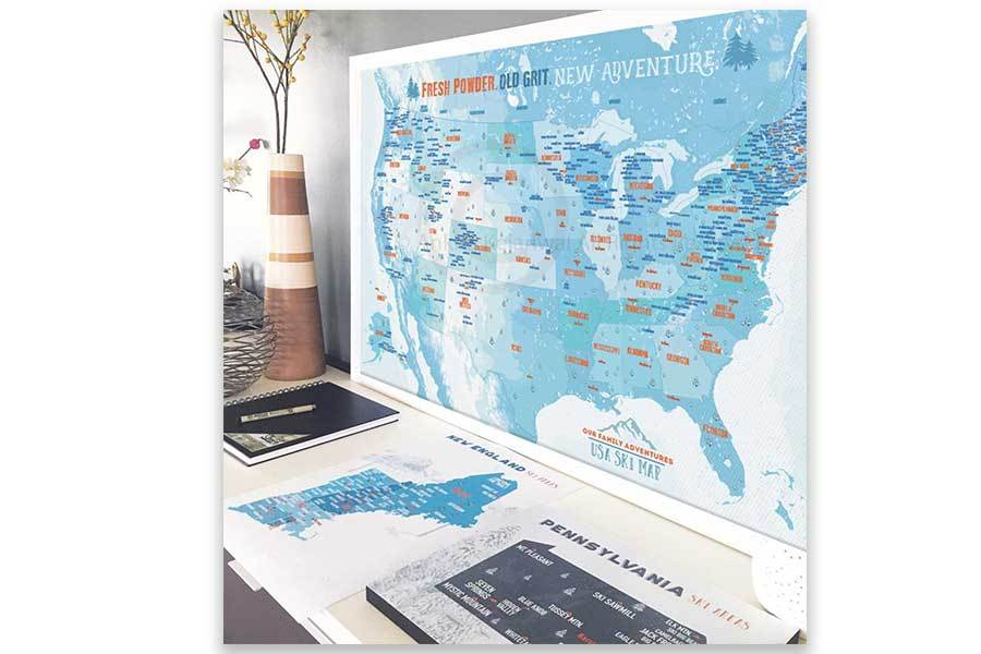 Ski and Snowboarding Map of America, Poster Map World Vibe Studio