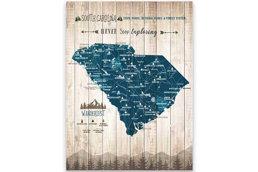 South Carolina State Parks Map, Hiker Gifts Map World Vibe Studio 12X16 Paper Print Blue