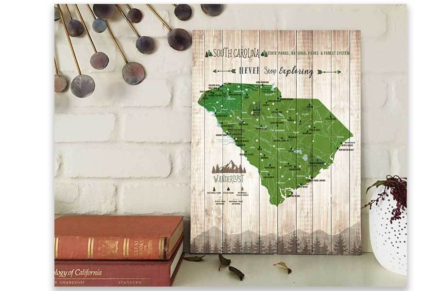 South Carolina State Parks Map, Hiker Gifts Map World Vibe Studio