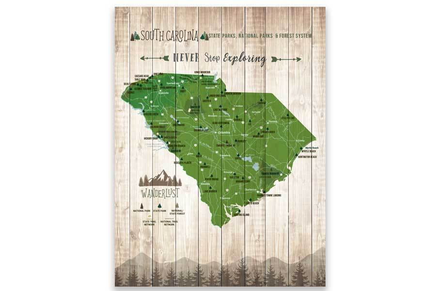 South Carolina State Parks Map, Hiker Gifts Map World Vibe Studio 12X16 Paper Print Green