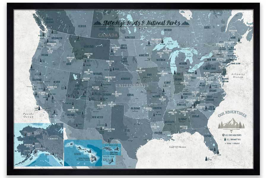 Framed Map of State High Points, Includes 61 National US Parks Map World Vibe Studio