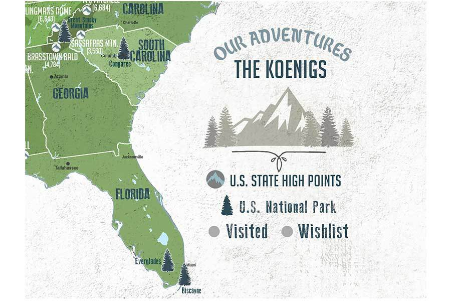 Framed Map of State High Points, Includes 61 National US Parks