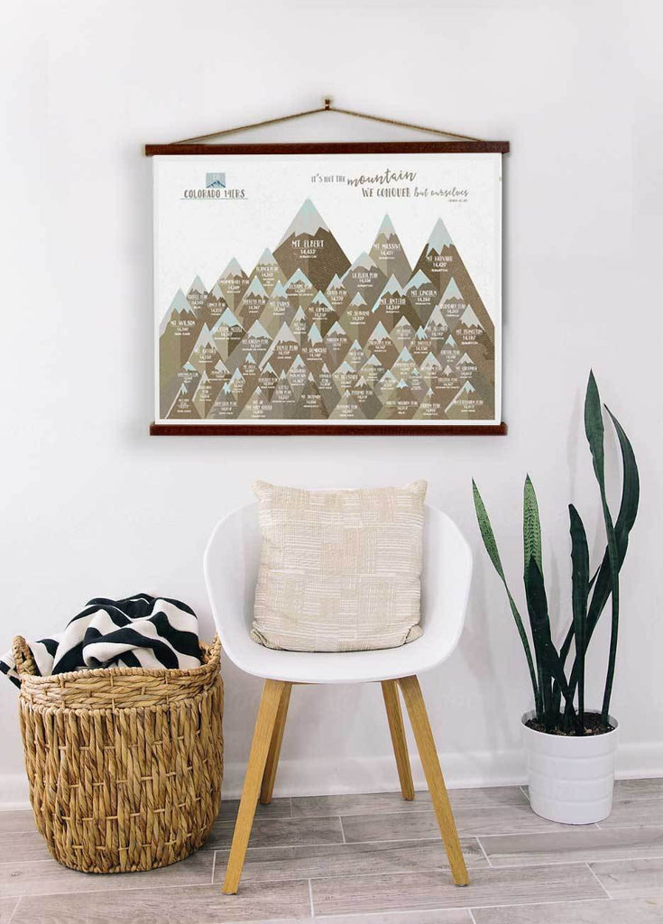 Colorado 14er Wall Hanging Canvas, Wooden rails included Map World Vibe Studio 12X16 Gray-Brown