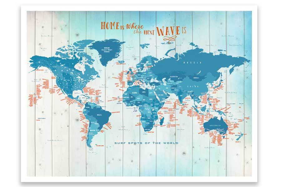Framed push pin map, Surfing Spots Map World Vibe Studio