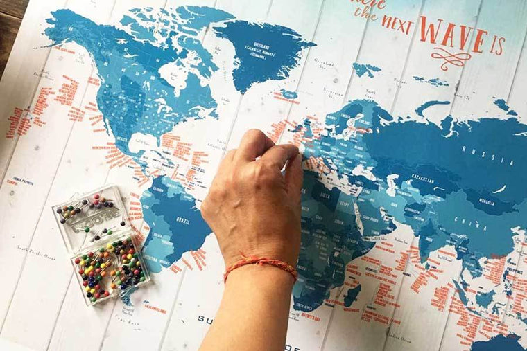 Surfing Map, Foam Mounted with Push Pins Map World Vibe Studio