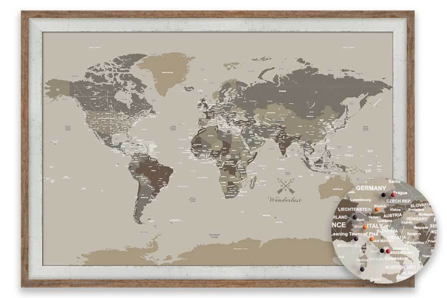 40X60 Inches Map of the World, Tan and Brown, Personalized Map Map World Vibe Studio