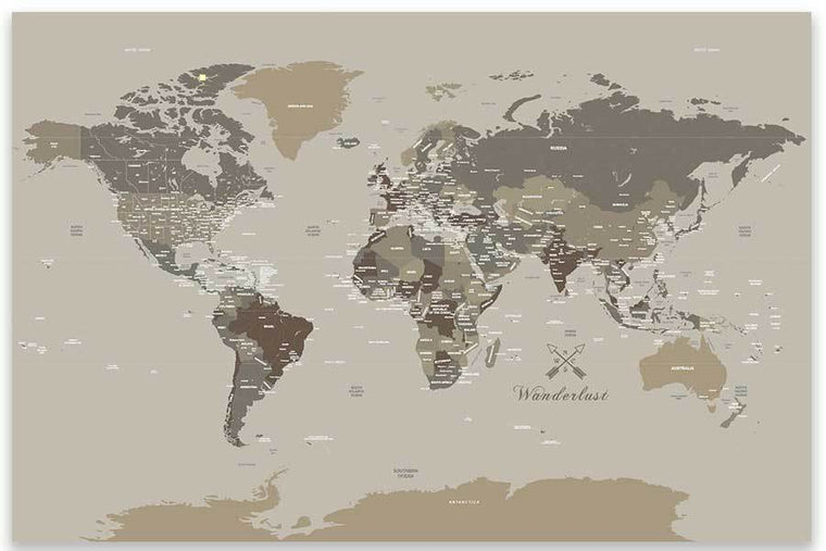 Rustic Brown and Tan World Map, Unframed Poster Map World Vibe Studio