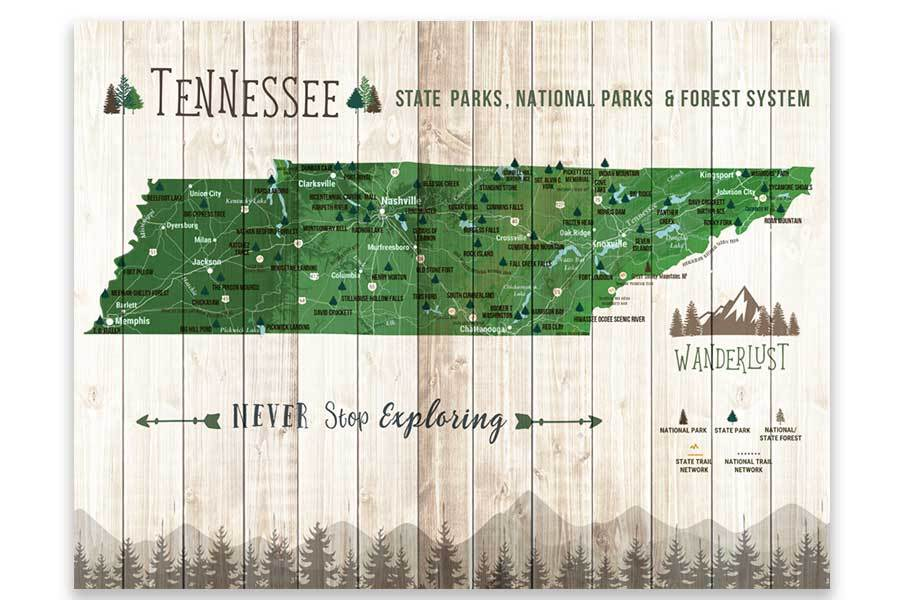 Tennessee State Park Map, Explore Tennessee Map World Vibe Studio