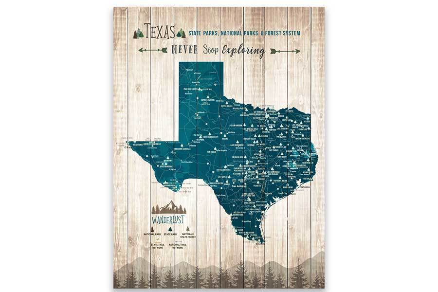 Texas Map, State Park Map of Texas Map World Vibe Studio 12X16 Navy-Blue