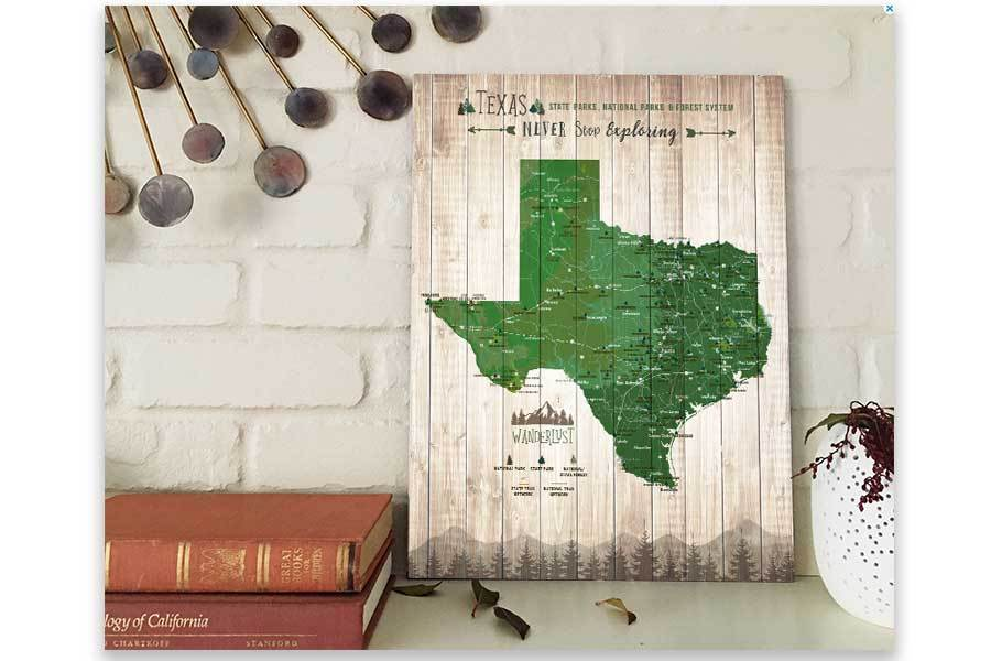 Texas Map, State Park Map of Texas Map World Vibe Studio