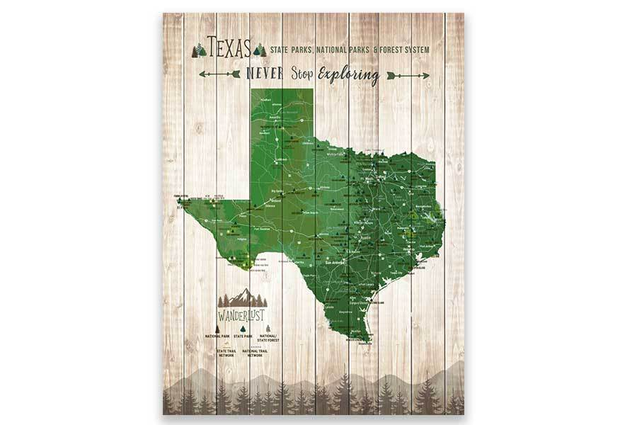 Texas Map, State Park Map of Texas Map World Vibe Studio 12X16 Green
