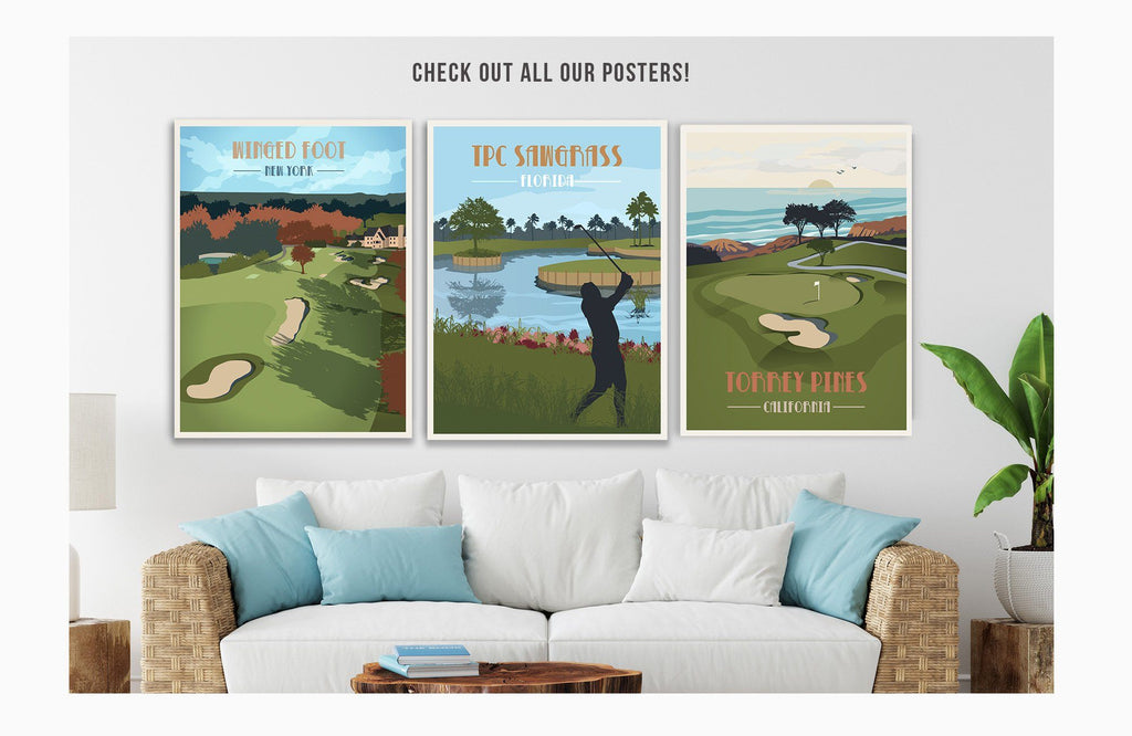 Merion Golf Club Poster, Pennsylvania, Golf Clubs of America, Unframed Map World Vibe Studio