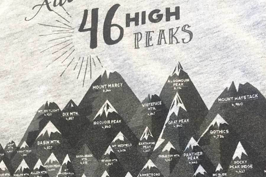 Tshirt of 46 Peaks, Adirondack Mountains, Unisex Map World Vibe Studio