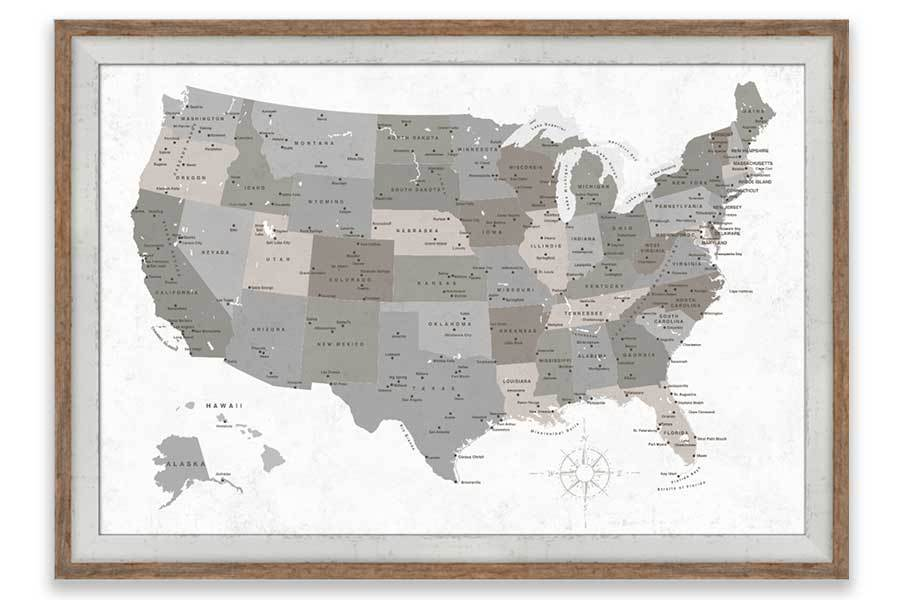 United States Map, Push Pin Style, Greige, Handcrafted Map World Vibe Studio