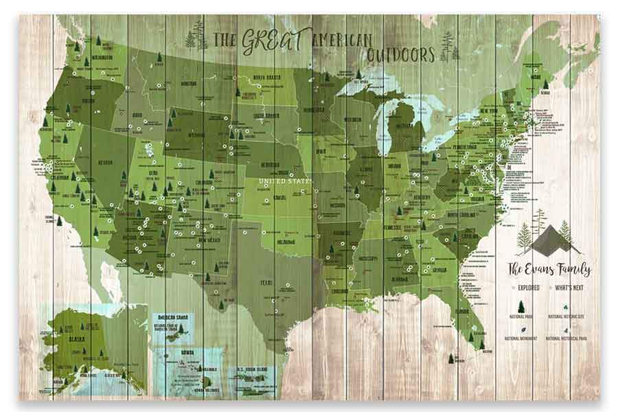 Forest System Map and US National Parks, Push Pin Canvas Board Map World Vibe Studio 18X24 Green