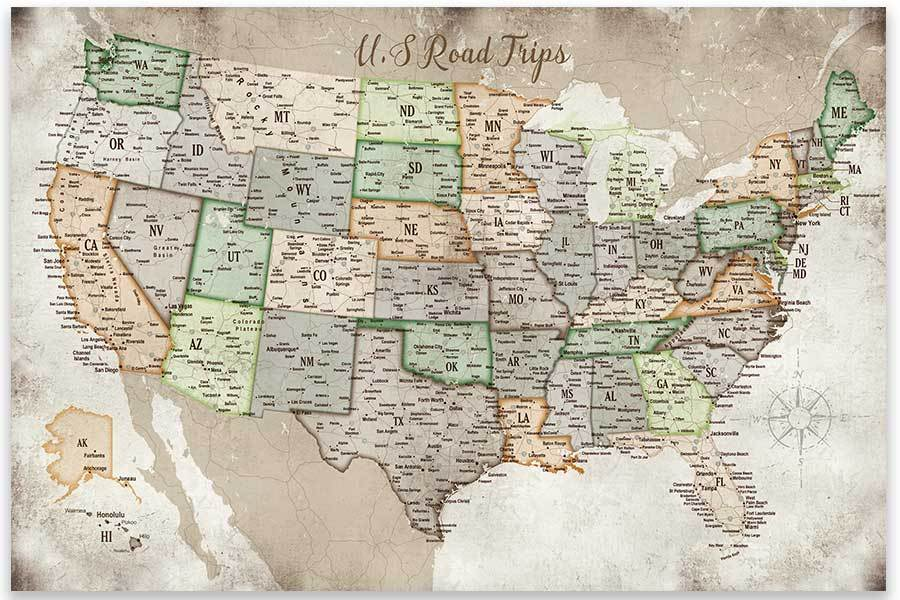 USA Road Trips, Poster, Map of USA Map World Vibe Studio