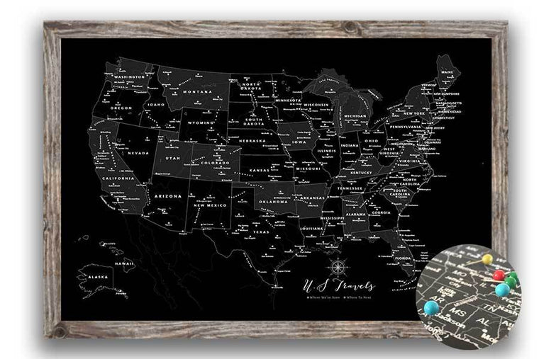 Black and white Map of USA, Framed, Push Pin Travel Map Map World Vibe Studio