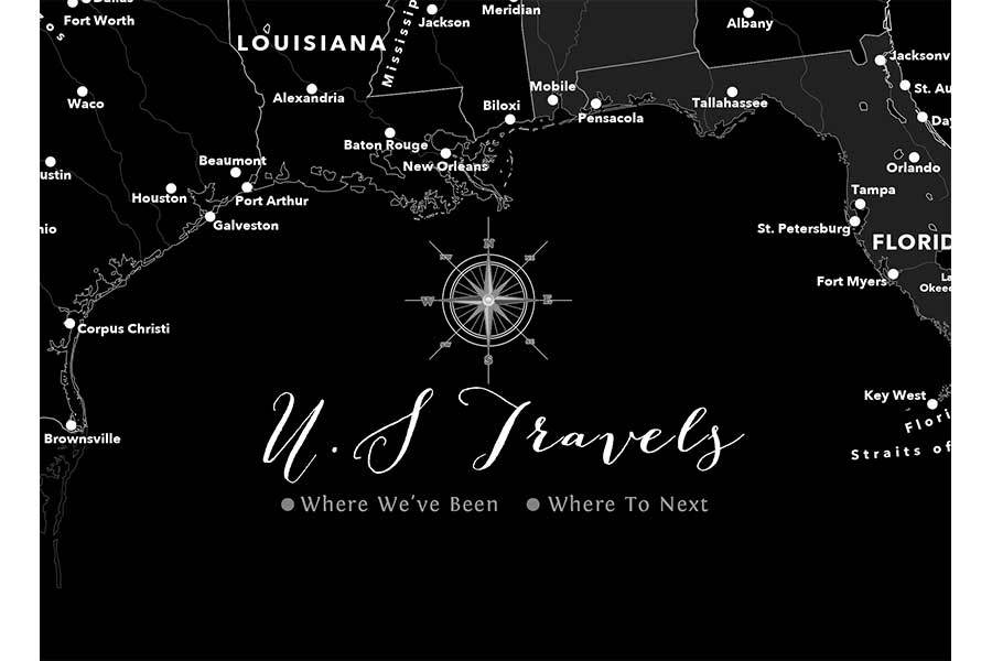 USA Poster, Black and white Map