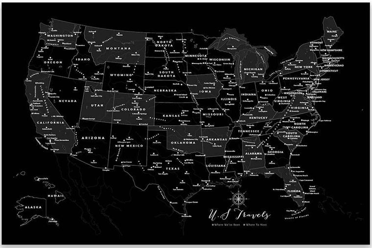 USA Poster, Black and white Map Map World Vibe Studio