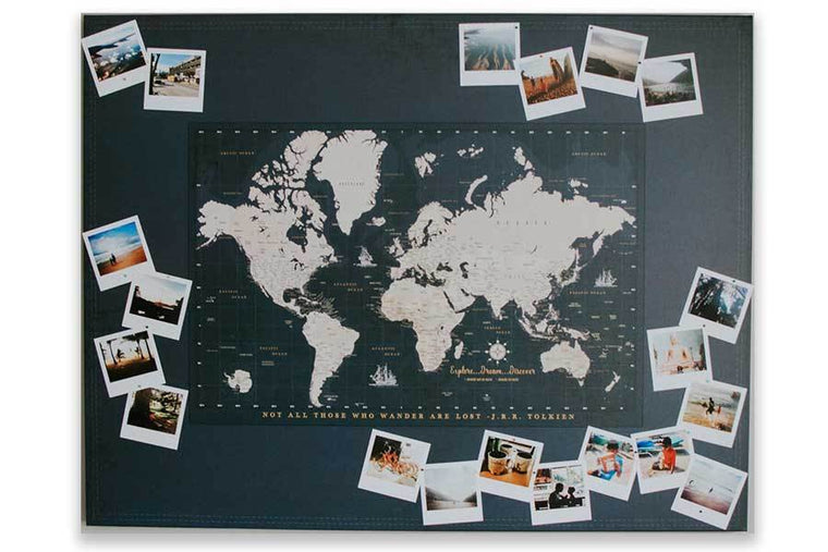 World Map on Canvas, Photo Board, Large, Pins included, 48 W X36 H Map World Vibe Studio