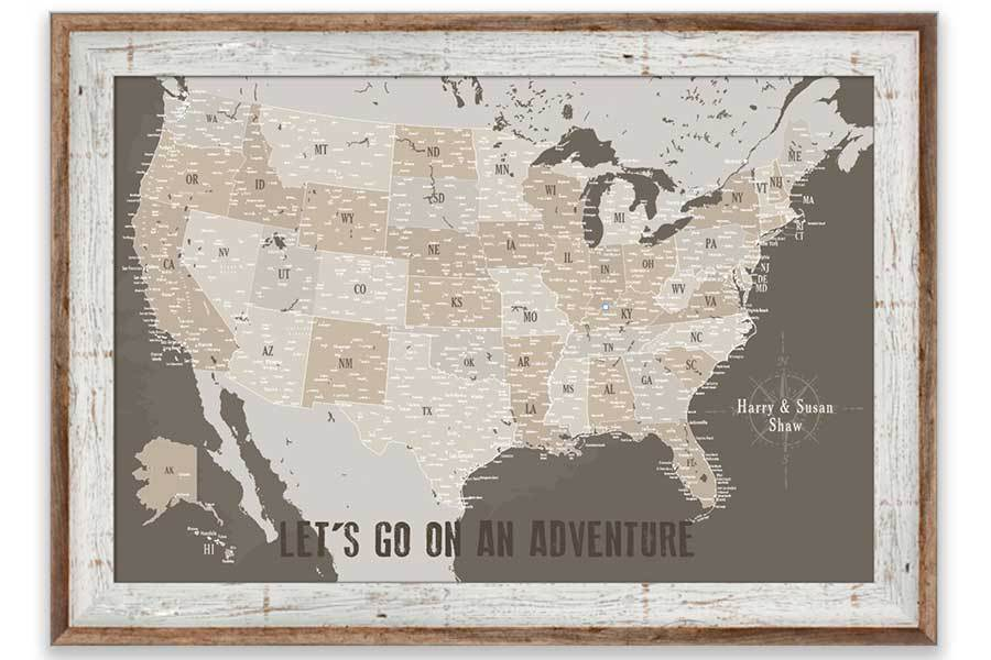 USA Map, Tan and Brown, Personalized, Push Pin, Framed Map World Vibe Studio