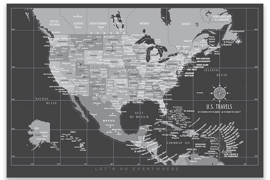 US Map with Caribbean, Canvas Board, Modern Charcoal