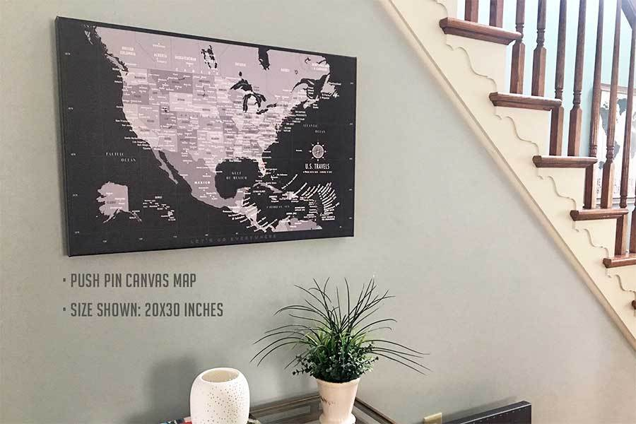 US Map with Caribbean, Canvas Board, Modern Charcoal Map World Vibe Studio