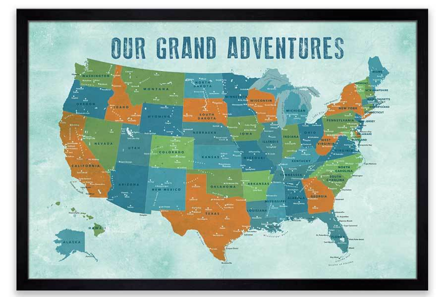 Map of USA, Poster, Orange and teals, Wall Decor Map World Vibe Studio