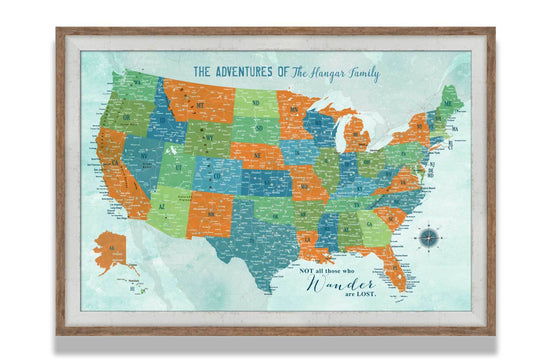 USA Framed Map, USA Road Trips, Push Pin Map Map World Vibe Studio