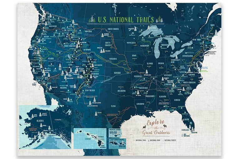 National Trails of USA, Poster Map World Vibe Studio 18X24 Blues