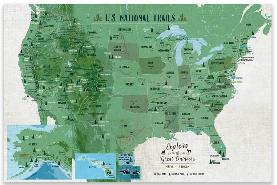 National Trails of USA, Poster Map World Vibe Studio 18X24 Greens