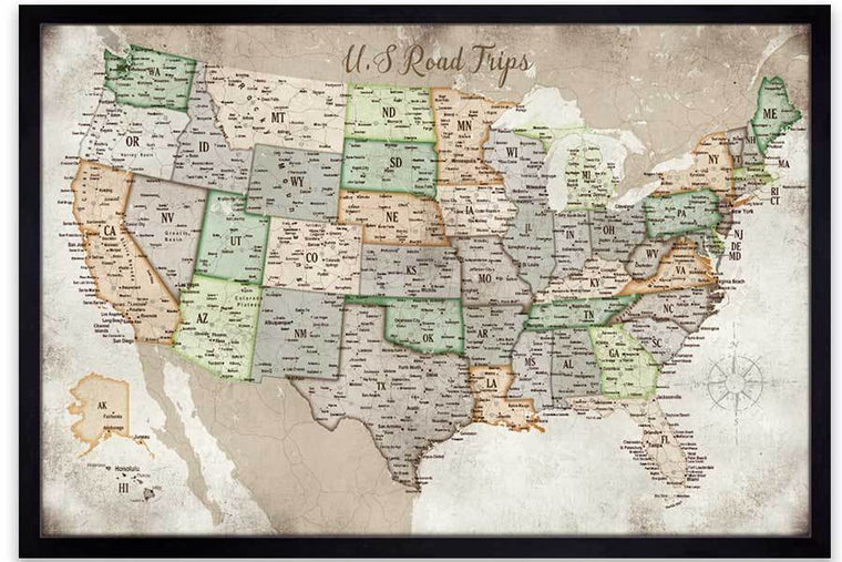 USA Road Trips, Framed, Push Pin Travel Map World Vibe Studio