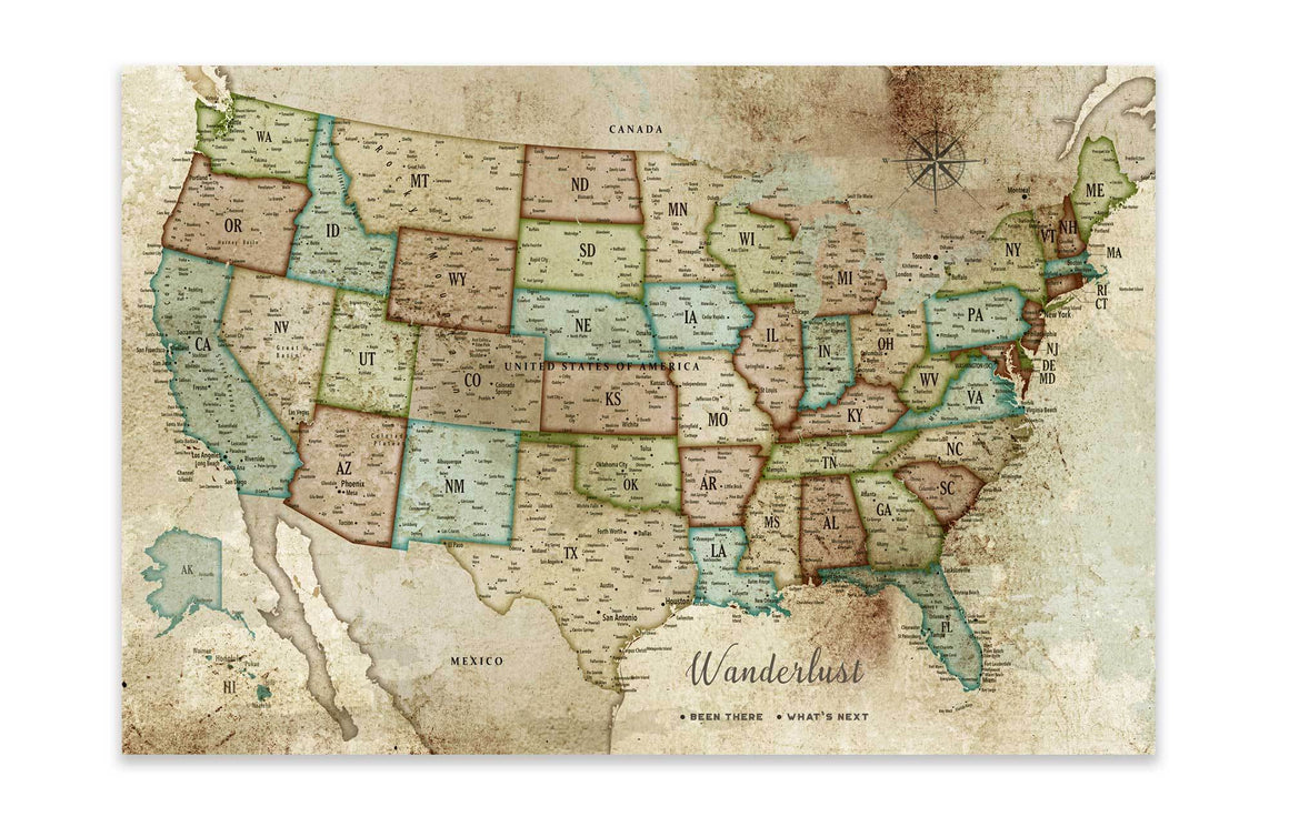 Rustic Push Pin Canvas, USA Map, Custom Map World Vibe Studio