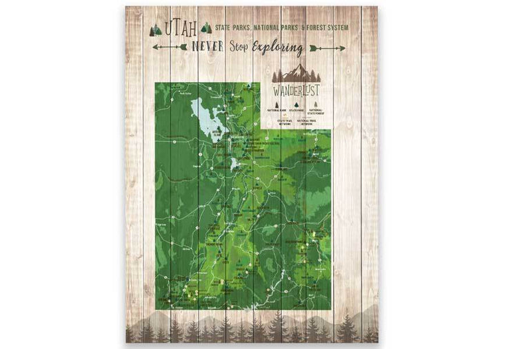 Utah State Parks Map, Custom, Canvas Map World Vibe Studio