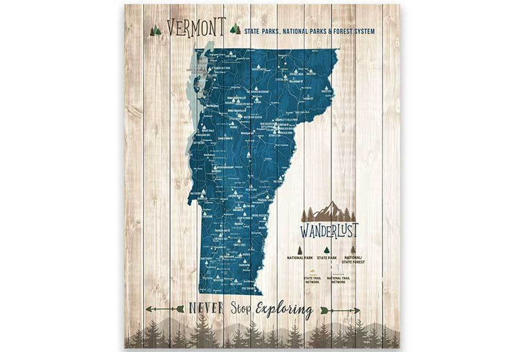 Vermont State Park Map, Push Pin Travel Board Map World Vibe Studio 12X16 Navy-Blue