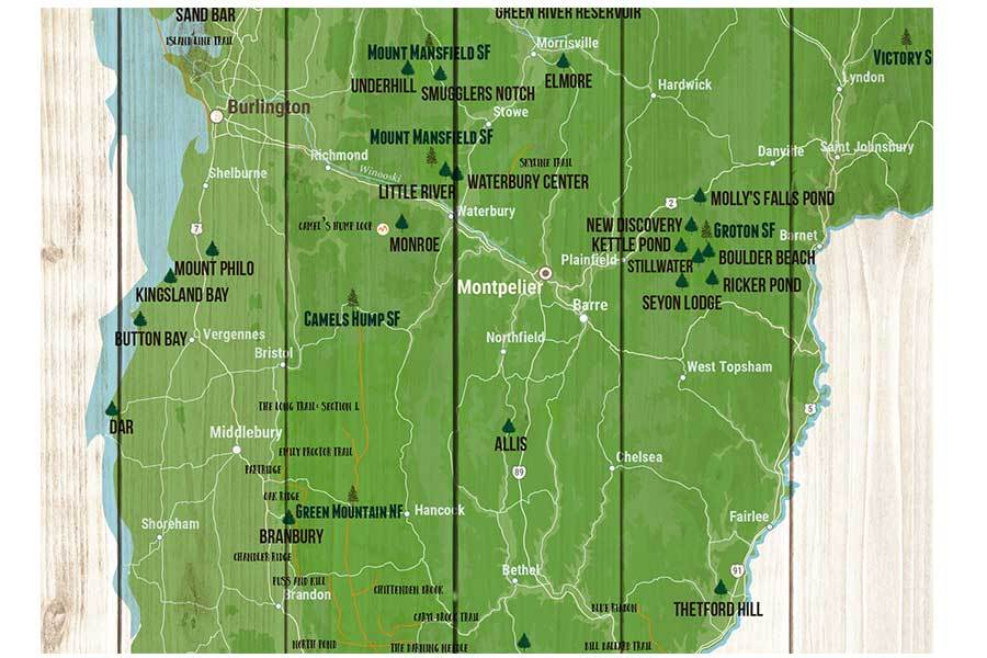Vermont State Park Map, Push Pin Travel Board Map World Vibe Studio