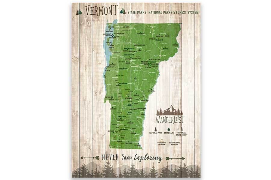 Vermont State Park Map, Push Pin Travel Board Map World Vibe Studio 12X16 Green