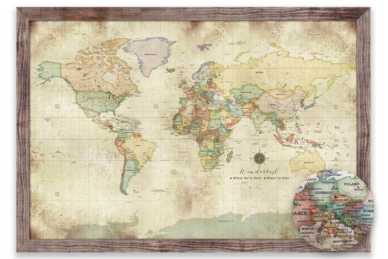 Vintage Style Custom World Map, Framed Map World Vibe Studio