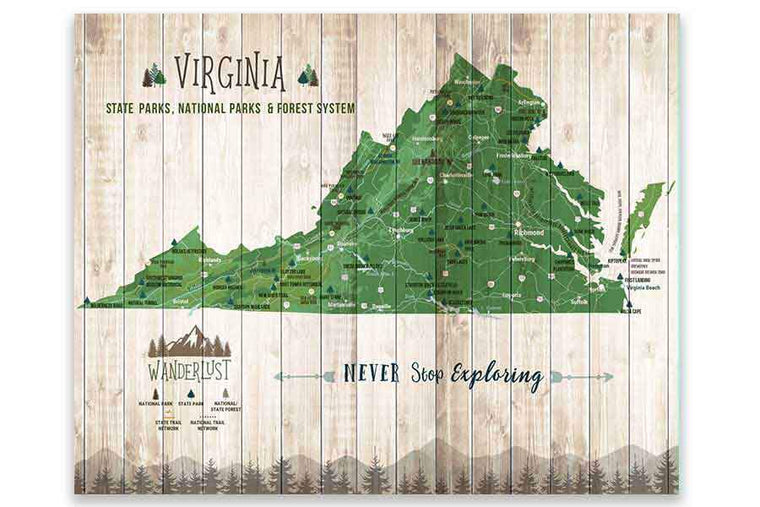 Virginia State Park Map, Custom options Map World Vibe Studio
