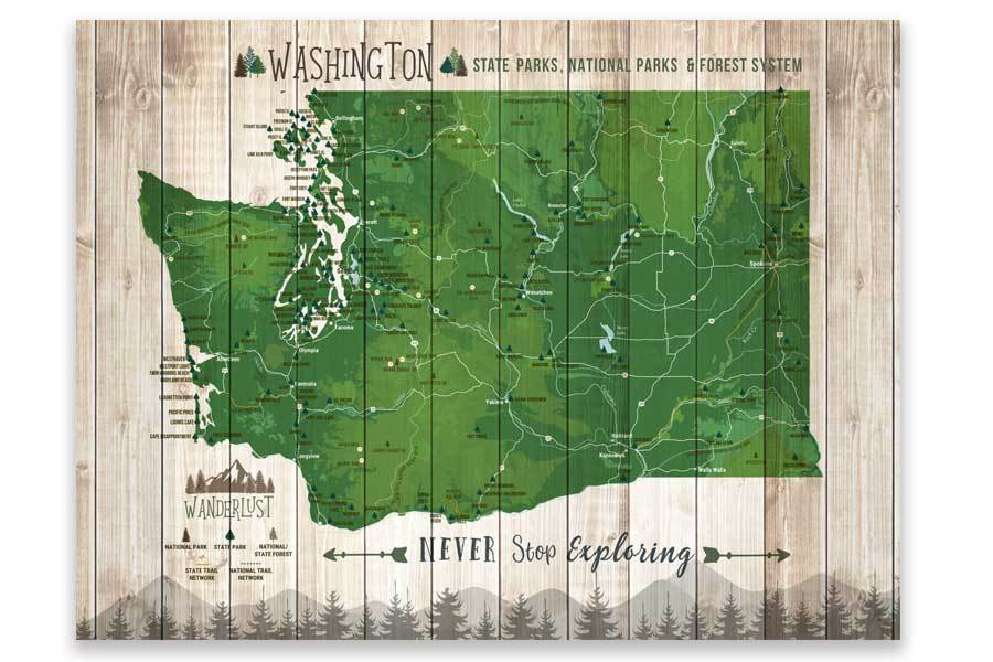 Washington State Park Map, Wall Art