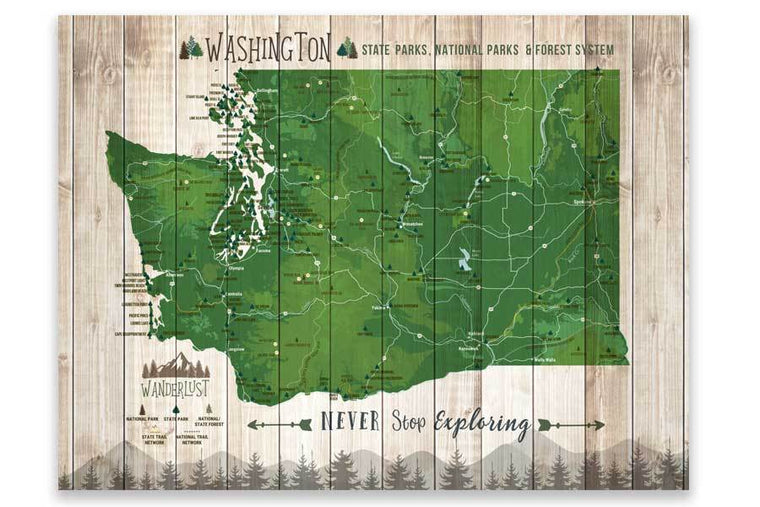 Washington State Park Map, Wall Art Map World Vibe Studio