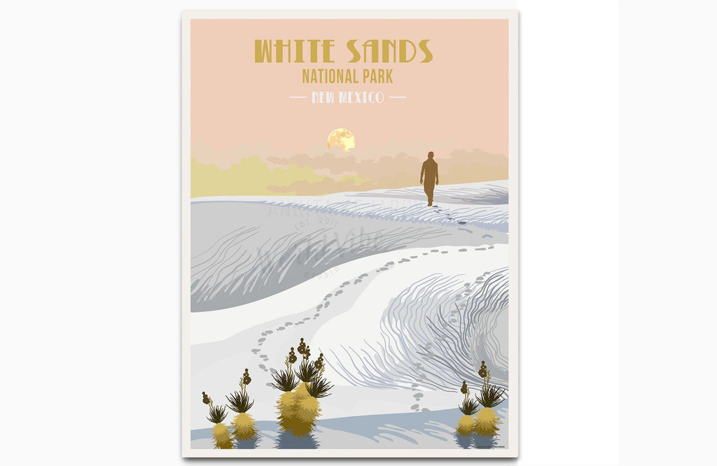 White Sands National Park, New Mexico, National Park Prints, Unframed Map World Vibe Studio
