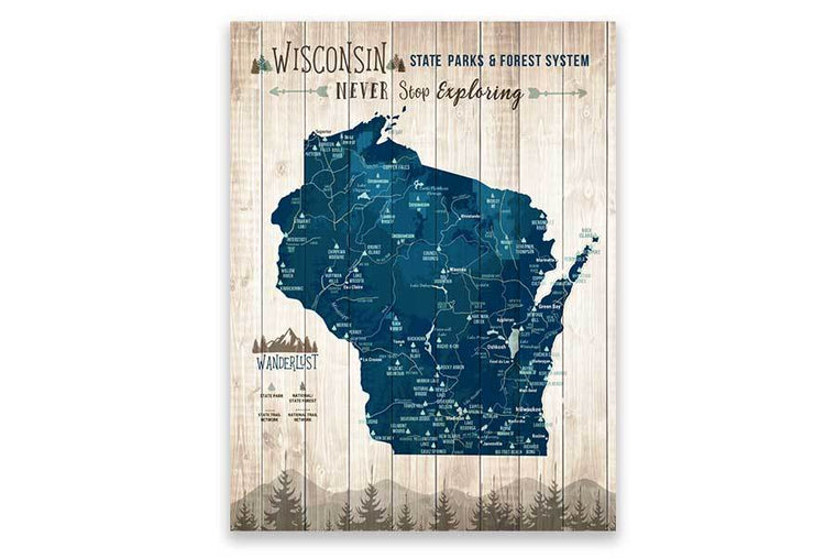 Wisconsin State Park Map, Custom Wall Decor Map World Vibe Studio