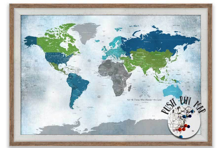 Push Pin Travel, World Map Blue & Green, Framed option Map World Vibe Studio