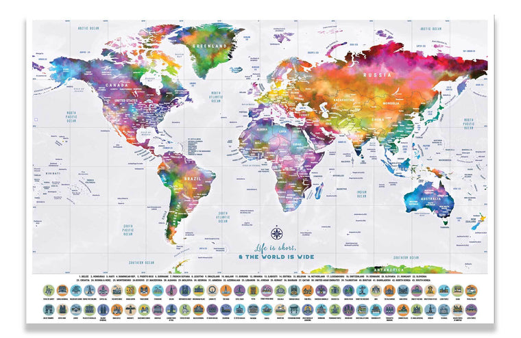 Scratch off World Map, World Map Poster, 16X24 Inches Map World Vibe Studio 16x24 Light