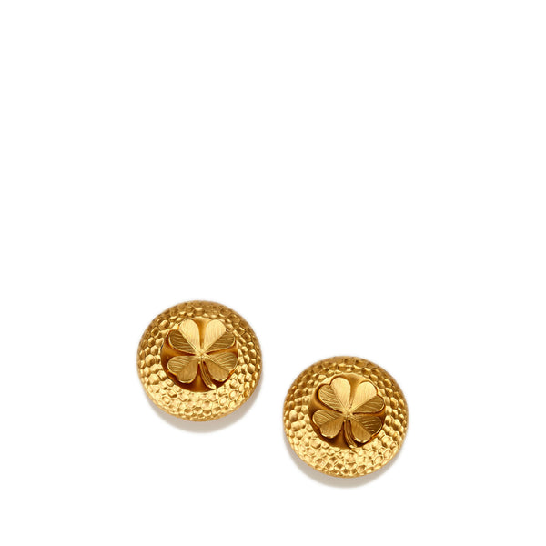 Chanel Gold-Tone Clover Clip-On Earrings